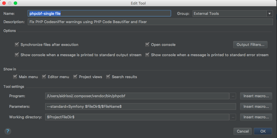 PhpStorm settings window: add new external tool